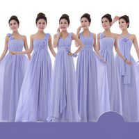 2014 New Arrival Strapless Chiffon Brideamaid Dresses Elegant Flowers Bandage Bridesmaid Dress Three Color Six Style Bridesmaid