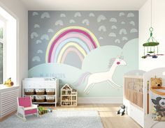 unicorn mural murals nursery ohpopsi rainbow boy bedroom paint unicorns wallpapers feature rhyme canada hautelook walls rainbows