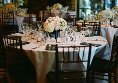 Round Reception Tables and Dark Wood Chairs   photography by http://www.bretcole.com/