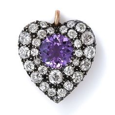 Antique 12k Silver Over Gold, Amethyst and Diamond Heart Pendant  - c. 1870