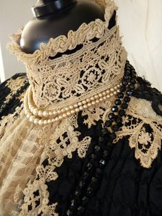 bc6c39e500 Victorian Evening Dress with High Lace Collar   Front Bodice Lace Detail .