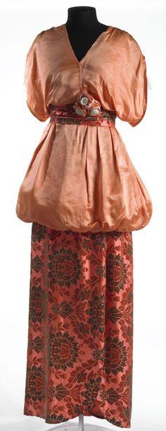 Dress: ca. 1912-1914, silk satin, voided velvet and lace.   Larger version of dress pinned eariler