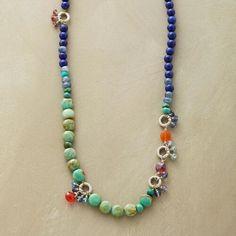 Blue and Multicolored Gemstone Necklace                                                Robert Redford's Sundance Catalog