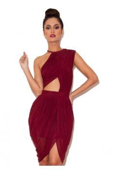 Leonora Ruby Draped Chiffon Cut-Out Dress