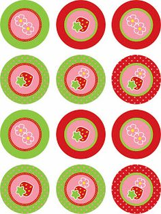 Laine Design: Freebies Tissue Paper Tassel, Paper Rosettes, Strawberry Crafts, Strawberry Tea, Cupcake Toppers Free, Cupcake Wrappers, Cartoon Birthday Cake, Strawberry Shortcake Birthday, Diy And Crafts