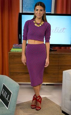 Two of Orly's favorite current trends are a crop top and pencil skirt ensemble. Here she rocks a matching American Apparel set topped with a Lulu frost necklace and Nasty Gal shoes.
