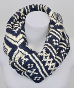 Love this Navy & White Classic Fair Isle Infinity Scarf - adds a cozy, stylish bit of warmth to my cool-weather ensemble.