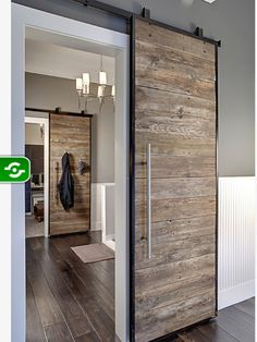 Sliding door. Rustic spaces could be elegant and chic as well. Get it to your living room, bedroom or even dining room. Learn how to create the best ambiences! Check out http://www.pinterest.com/homedsgnideas/ for more amazing ideas.
