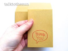 kraft envelope hand stamped envelope with thank you. available at www.talktothesun.etsy.com