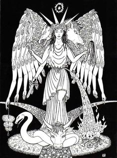 Hecate, Greek goddess of the three paths, guardian of the household, protector of everything newly born, and the goddess of witchcraft. She was the only child of the Titanes Perses and Asteria from whom she received her power over heaven, earth, and sea. Associated with crossroads, entrance-ways, dogs, light, the moon, magic, witchcraft, knowledge of herbs and poisonous plants, necromancy, and sorcery.