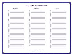 'dates to remember' {free} printable