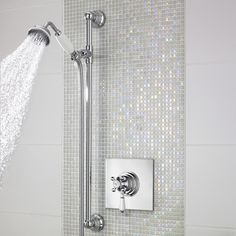 A stunning polished chrome finish ensures that the Traditional Concealed Sequential Thermostatic Shower Valve with Slide Rail Kit complements any Traditional bathroom or shower room. Constructed from brass, with modern ceramic disc technology, which op New Bathroom Ideas, Bathroom Inspiration, Small Bathroom, Master Bathroom, Bathroom Feature Wall Tile, White Bathroom Tiles, Shower Tiles, Mosaic Bathroom, Family Bathroom