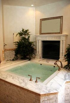 Only a fond fantasy for me--a deep whirlpool tub and a cozy fireplace.