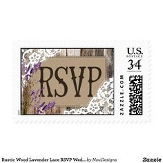 Rustic Wood Lavender Lace RSVP Wedding Stamp Wood planks with white lace and lavender country western rustic inspired RSVP wedding postage stamp.
