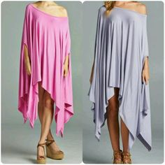Trendy This season Must have! ! Dusty purple avail Poncho style top can be worn as a dress also. Just in t In for Spring Fun, flirty & cute Tops