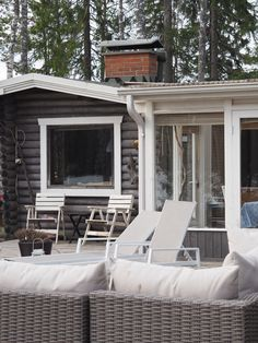 mökki arkistot - At Maria's Log Homes Exterior, A Frame Cabin, Outdoor Living, Outdoor Decor, Terrace Garden, Facade House, Cozy House, Beach House, Pergola