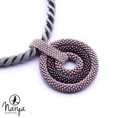 Bead crochet rope necklace big circle pendant by Naryajewelry, $50.00