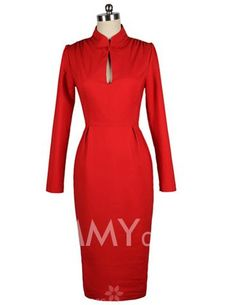 $52.49 Vintage Stand Collar Cut-Out Long Sleeve Slimming Women's Red Dress