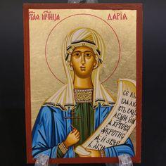 Greek Russian Orthodox Serigraph Icon Handmade Byzantine Saint Daria 12x9cm