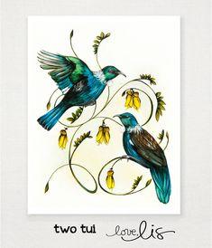 two tui - Love Lis NZ Flying Bird Drawing, Bird Drawings, Tattoo Drawings, Nz Art, Art For Art Sake, Tui Bird, Maori Symbols, New Zealand Art, Bird Poster