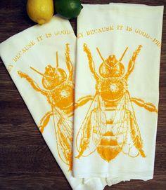 Set of 2 - HONEY BEE - Multi-Purpose Flour Sack Bar Towels - Renewable Natural Cotton. $13.00, via Etsy.