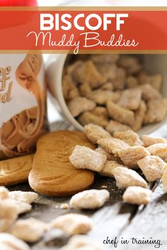Biscoff Muddy Buddies on .A delicious spin on a classic recipe! Health Desserts, Just Desserts, Delicious Desserts, Yummy Food, Dessert Healthy, Sweet Recipes, Snack Recipes, Dessert Recipes, Butter Cookies Recipe
