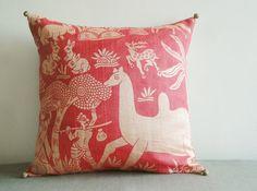 Printed Dupioni Silk Pillow , Indian Jungle Theme Pillow , Decor Pillow , Throw Pillow , Decor for your Little Girl's Room