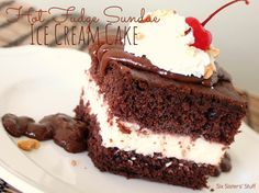 Hot Fudge Sundae Ice Cream Cake from sixsistersstuff.com.  So easy to make, you'll never buy an expensive ice cream cake again! #recipes #dessert #cake