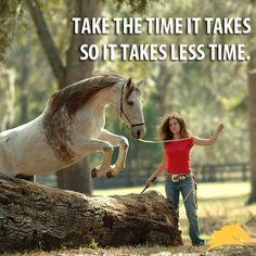 """Take the time it takes so it takes less time."" #PatParelli... Like heart land"