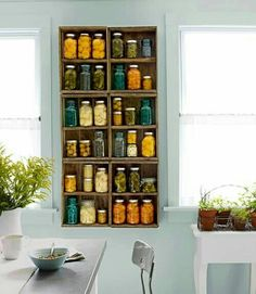 display canned preserves in old mason jars (and fruit crate shelves) as opposed to hiding them in the cupboard. House, Home Projects, Home, Kitchen Makeover, Crate Shelves, Repurposed Furniture, Home Diy, Wood Crates, Shelving