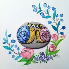 Good morning... Günaydın.... #taşboyama #stonepainting #rockpainting #pebblepainting #pebbleart #piedraspintadas #sassidipinti #snail
