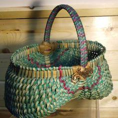 Hand woven OVAL EGG BASKET Braided handle by JChoateBasketry, $55.00