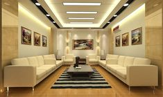 Living Room, Excellent False Ceiling Design For Living Room White Ceiling White Painted Wall Beige Sofa Grey Contemporary Coffee Table Black Stripes Rectangle Rug Brown Floor: Inspiring False Ceiling Design For Living Room For Home Interior Design Ideas