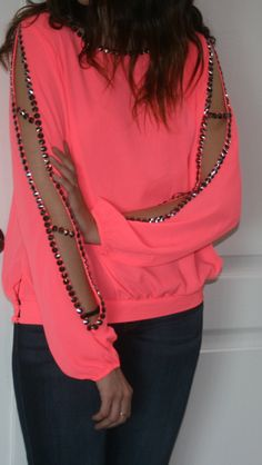 Be the center of attention in this amazing Neon Pink Beaded top! Seriously so gorg!  ShopMissLuxe.com