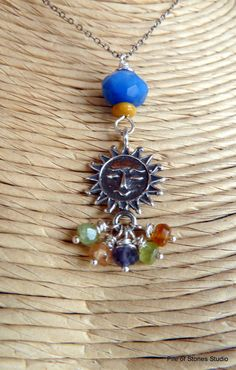Blue Sky Necklace Faceted Gemstones Mustard by pileofstones