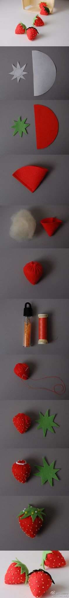 Yummy strawberries *stitch seeds with embroidery floss for a safer alternative to beads
