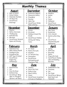 Monthly Themes Monthly Themes Monthly themes, holidays, and social skills<br> Chart detailing monthly themes including holidays, seasons, and social skills. Helpful to plan activities for the entire school year. Appropriate for multiple age levels. Daycare Lesson Plans, Lesson Plans For Toddlers, Daycare Curriculum, Homeschool Kindergarten, Homeschooling, Pre K Lesson Plans, Pre K Curriculum, Curriculum Planning, Lesson Planning