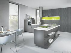 Modern Gray Kitchen Cabinets With White Laminate Top, Splash Of Lime Green  Accent. Midcentury