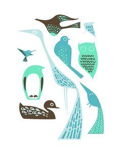sale modern birds giclee print 8X10 by ThePaperNut on Etsy, $15.00