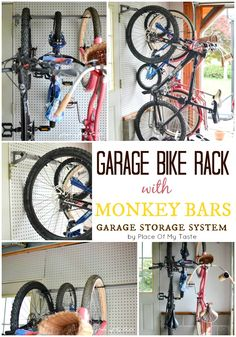 63 Ideas bike storage roof organized garage for 2019 Bike Storage Roof, Garage Storage Systems, Garage Organization, Organized Garage, Staying Organized, Organization Ideas, Garage Bike, Diy Garage, Garage Ideas