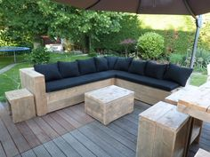 Lounge hoekbank oud steigerhout met 1 leuning.