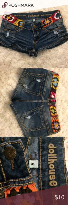Boho shorts Super cute boho shorts! Great for festivals and concerts. Only imperfection is missing part of decoration shown on the right in the first picture. They came like that and nobody ever noticed. Only worn a few times. Dollhouse Shorts Jean Shorts