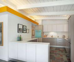 Mid Century Modern  white kitchen   Modern L-shaped White kitchen, cabinets, Celestino Piralla, Other