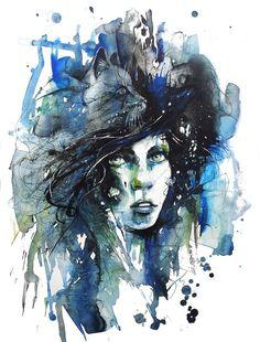 Saatchi Online Artist: Dreya Novak; Watercolor, 2013, Painting Behind the Curtain