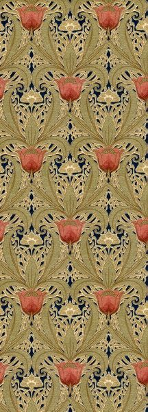Art Nouveau Tulip Garden wallpaper, ca.1890–1910. Late Victorian/Early Arts and Craftst