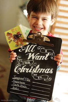 Christmas Chalkboard Wishlist... ADORABLE!