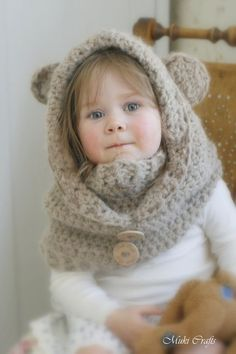 CROCHET PATTERN teddy bear hood Jacob with a cowl (baby, toddler/child/adult sizes)