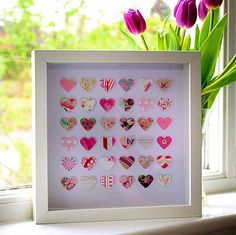 Great use for those tiny bits of left over scrapbooking paper. Paper punch + colorful paper + foam sticker mounts = original work of art Butterfly Artwork, Butterfly Pictures, Heart Pictures, Paper Butterflies, Box Frame Art, Box Frames, Valentine Crafts, Valentines, Crochet Video
