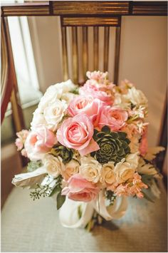 Blush rose bridal bouquet. Photo by Spindle Photography.  www.wedsociety.com #wedding #bouquet