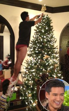 Mario Lopez & Gia from Holiday Decorating With the Stars  Who can forget this cheeky photo of the Saved by the Bell alum adding his last touches on the tree with the help of his adorable daughter?